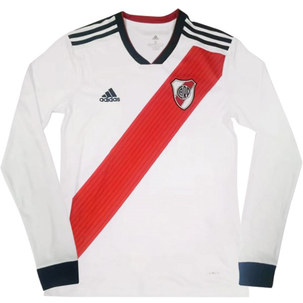 Maillot Foot River Plate 1ª ML 2018-2019 Blanc